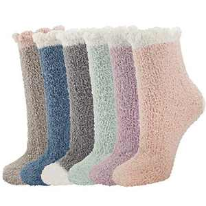 Horalah 6 Pairs Slipper Socks Women Warm Winter Sleeping Cozy Slipper Socks Soft Fuzzy Microfiber Colorful Hospital Socks Ladies