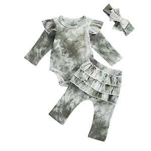 Toddler Kids Tie Dye Pajamas Set Baby Girl Boy Crawling Clothes Newborn Baby Romper Tops 3Pcs Outfits (G, 12-18M) Green