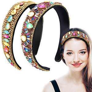 2 Pieces Rhinestone Headbands Bejewelled Crystal Headband Wide Edge Headwear Wide Hairband Padded Diamond Hairband for Women Girls