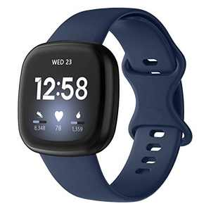 Recoppa Compatible with Fitbit Versa 3 Bands, Soft Silicon Sport Strap for Fitbit Versa Sense Smartwatch Women Men Waterproof Replacement Wristband, Navy Small