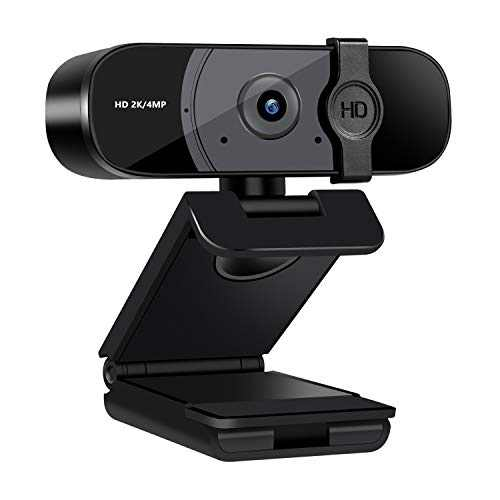 2K HD Webcam with Privacy Cover, Computer Camera with Microphone for Desktop, 4 Million Pixel, Plug and Play, for Mac OS Windows, for Live Streaming, Gaming, Conference, Online Classes