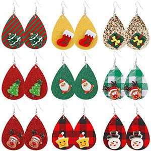 Christmas Earrings for Women Bulk MTSCE 9 Pairs Christmas Faux Leather Earrings Christmas Tree Santa Claus Christmas Deer Christmas Bow Snowflakes Snowman Earrings Gift for Teens Girls Women