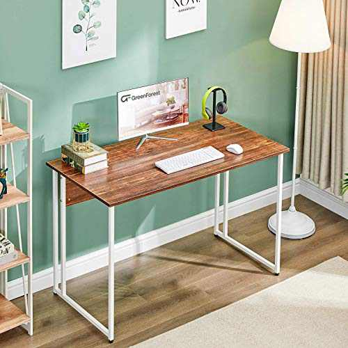 """GreenForest 47"""" Computer Writing Desk, Small Study Desk for Small Spaces, Modern Simple Home Office Working Table for Bedroom and Domitory,with White Metal Legs, Walnut"""