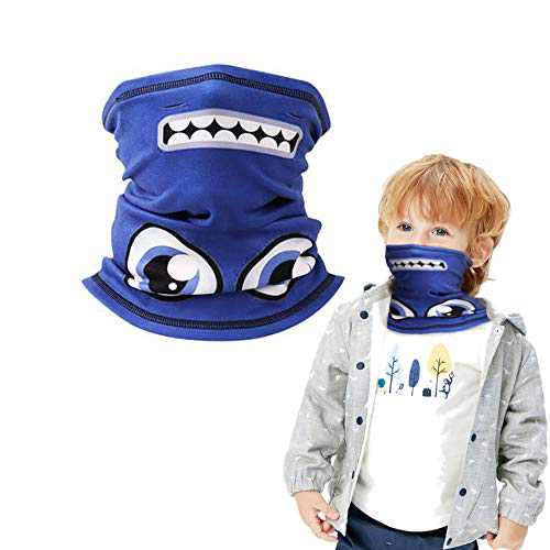 Winter Kids Neck Gaiter Double-Sided Camel Fleece Neck Warmer Cute Windproof Face Cover Scarf for Outdoor Activities in Cold Weather (Blue)