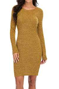 VZULY Women's 2020 Casual Crew Neck Long Sleeve Stretchy Bodycon T-Shirt Dress XL Yellow