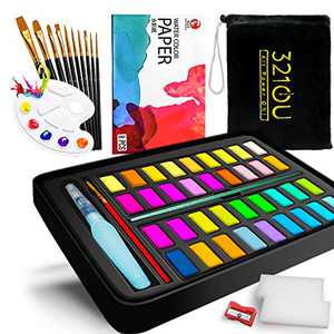 Watercolor Paint Set, 321OU Watercolour Paint Gift Box with 36 Colors Pigment, 11 Premium Brush, Water Brush Pen, Pencil, Palette, Watercolor Paper Pad for Kids Adults Beginners Artists Painting