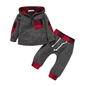 TMEOG Baby Boys Clothing Sets Infant Toddler Sweatshirt Set Winter Fall Clothes Outfit 0-3 Years Old,Baby Plaid Hooded Long Sleeve Tops + Pants (Red, 6-12 Months)