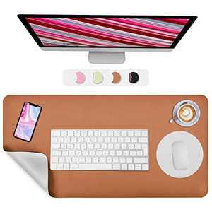 "Desk Pad, Desk Mat, veecom Dual-Sided Desk Protector Laptop Pad, Non Slip Leather Mouse Pad 31.5"" x 15.7"" + 8.66""x8.66"", Waterproof Full Desk Mouse Pad Large Desk Blotter on Top of Desks (Brown/Gray)"
