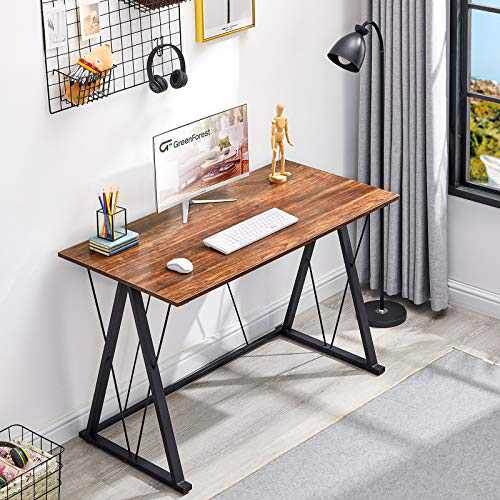 """GreenForest Office Desk, 47"""" Computer Desk for Home, Simple Writing Study Desk with Heavy Duty Legs, 23.6"""" Laptop PC Workstation for Workers Students, Walnut"""