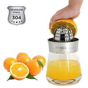 Orange Juicer Manual Juice Extractor - Unclegrease Mini Simple Stainless Steel Glass Citrus Fruit Squeezer, Lime Lemon Hand Press