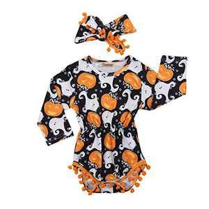 Tianve Newborn Baby Girls Baseball Pompom Rompers Jumpsuit Bodysuit Sunsuit (Pumpkim, 0-3M)