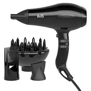 JINRI Hair Dryer Sterilization Professional Salon Ionic Sterilization Hair Dryer With Diffuser & Concentrator Attachments for Curly Hair (Multi-colored)