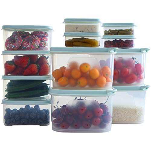 Citylife 12 Set Food Storage Containers Plastic Food Containers with Lids Airtight Freezer Containers for Lunch Kitchen