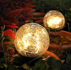 Garden Solar Ball Lights Globe Cracked Glass Outdoor Lamp Waterproof Warm White Led for Outdoor Pathway Walkway Patio Yard Lawn