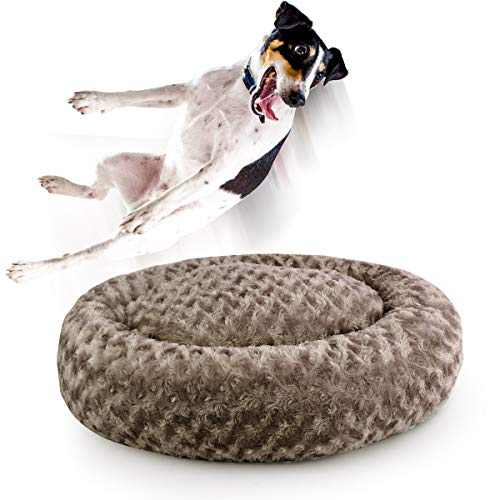 Dog Beds for Medium Dogs Calming Pet Bed for Small Dogs Bed Furniture Donut Round Anti Anxiety Dog Bed Doggy Bed Fluffy Fuzzy Cat Bed Cuddler Camas Para Perros Khaki 24 Inch
