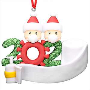 2020 Christmas Ornament Quarantine, White Santa Christmas Tree Ornaments Holiday Decorations Hanging Ornaments