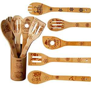 hatatit Christmas Wooden Cooking Utensil Set Bamboo Carved Spatulas Spoons Kitchen Cooking Tools for Christmas Kitchen Decorations New Year Gifts for Chefs Friends