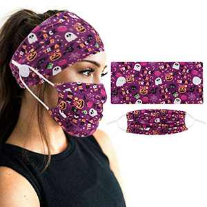 2pcs Face Protection Set - 1 Headband with Buttons + 1 Face Covering for Yoga Sports & Workout (Purple)