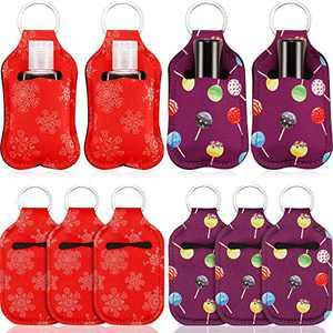 20 Pieces Chapstick Holder Keychain Set Chapstick Sleeve Lipstick Holder Keychains Chapstick Keyring Holder Lip Balm Keychain Holder Neoprene Lipstick Holder Keychain, Red and Purple