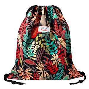 Drawstring Bag Water Resistant Lightweight Gym Sackpack for Casual Swimming Yoga (DARK RED LEAF)