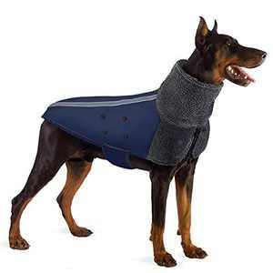 SlowTon Winter Dog Coat, Warm Polar Fleece Lining Doggie Outdoor Jacket with Turtleneck Scarf Reflective Stripe Adjustable Waterproof Windproof Puppy Vest Soft Pet Outfits (XL, Blue)