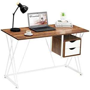 """GreenForest Small Computer Office Desk with Drawers 47.2"""" Home Vanity Table with Double X Legs for Small Space Writing Study Desk Saving Space Pc Workstation Laptop Table, Walnut"""