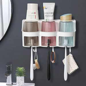 Toothbrush Holder, Goowin Toothbrush Holder Wall Mounted, Large Capacity Toothbrush Holder for Bathroom, Eco-Friendly & Durable Shower Toothbrush Holder with 2 Cups for Couples (Round 3 Cups)