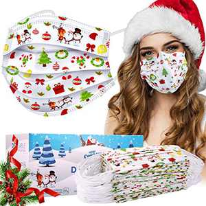 Disposable Face Masks, 50 Pcs Christmas Face Masks (Adult, White)