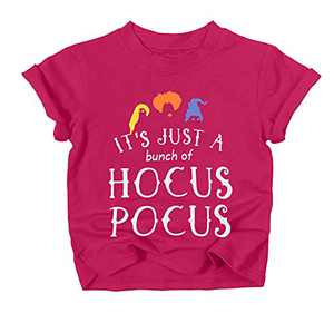 UNIQUEONE Baby Girls Boys It's Just A Bunch of Hocus Pocus Halloween T Shirt Sanderson Sister Graphic Print Tee Shirts(Fuchsia, 3-4Years/Tag120)