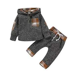 TMEOG Baby Boys Clothing Sets Infant Toddler Sweatshirt Set Winter Fall Clothes Outfit 0-3 Years Old,Baby Plaid Hooded Long Sleeve Tops + Pants (Khaki, 6-12 Months)