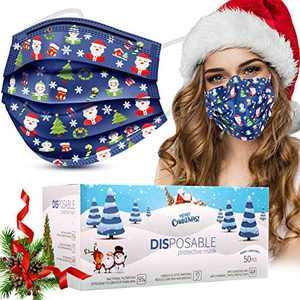 Disposable Face Masks, 50 Pcs Christmas Face Masks (Adult, Blue)