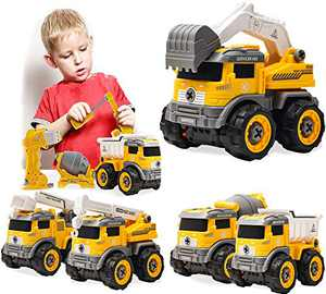 JIEFULL Children's Construction Toys Truck|The 5-in-1 Dump Truck Construction Truck Excavato Toys|Best Toys for Age 3 4 5 6 7 Boys Girls
