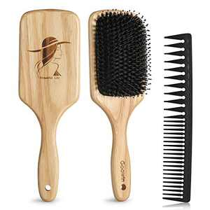 Boar Bristle Hair Brush, Goowin Hair Brushes for Women, Paddle Hair Brush for Dry & Neutral Thick Hair, Nylon & Boars Hair Brush for Restoring Hair Natural Shine & Health, Include Wide Tooth Comb