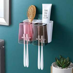 Toothbrush Holder, Goowin Toothbrush Holder Wall Mounted, Large Capacity Toothbrush Holder for Bathroom, Eco-Friendly & Durable Shower Toothbrush Holder with 2 Cups for Couples (Square Cups)