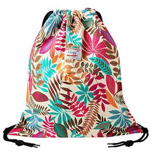 Drawstring Bag Water Resistant Lightweight Gym Sackpack for Casual Swimming Yoga (AUTUMN)