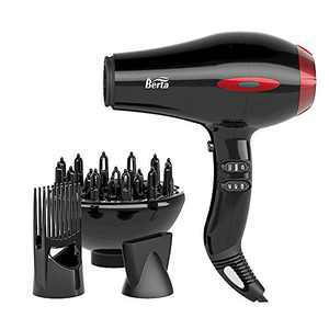 JINRI Hair Dryer Sterilization Professional Salon Ionic Sterilization Hair Dryer With Diffuser & Concentrator Attachments for Curly Hair (Red)