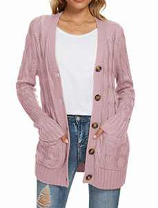 UEU Women's Winter Fall Long Sleeve Open Front Button Down Cable Knit Cardigan Sweater with Pockets(Light Pink,S)