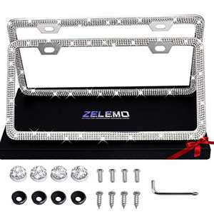 ZELEMO 2 Pack Premium Bling Rhinestone License Plate Frame for Women,Stainless Steel Narrow Bottom Not Cover State Name and Tag Information,with Premium Gift Box for Women