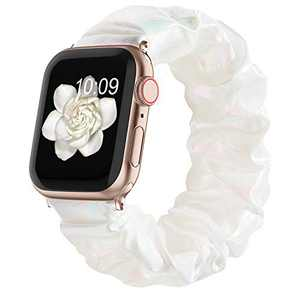 Compatible with Scrunchie Apple Watch Bands 38mm 40mm 42mm 44mm for Women Girl, Canvas Scrunchy Elastic Stretch Glitter Cloth Bracelet Strap for iWatch Series 6 5 4 3 2 1 Se, Pearl White 42/44mm Small
