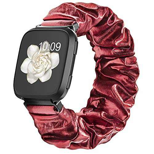 Compatible with Scrunchie Fitbit Versa 2 Bands for Women, Fitbit Versa Scrunchie Band with Glitter Elastic Stretch for Versa Lite Smart Watch Strap, Red Small