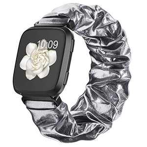 Compatible with Scrunchie Fitbit Versa 2 Bands for Women, Fitbit Versa Scrunchie Band with Glitter Elastic Stretch for Versa Lite Smart Watch Strap, Space Grey Small