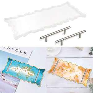 Resin Tray Molds Agate Platter Silicone Molds Epoxy Resin Casting Molds with Silver Handles for Resin Agate Tray Serving Board Crafts DIY Home Decor