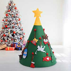 Aurdox 3D Felt Christmas Tree for Toddlers - DIY Home Decorations Wall Hanging Xmas Children Felt Craft Kits Christmas Decoration Party Supplies