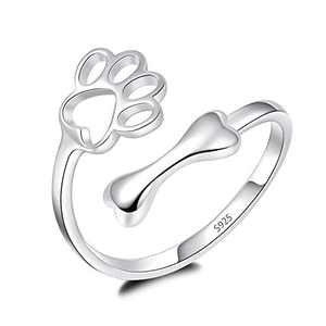 925 Sterling Silver Pet Puppy Paw Print Love Heart Ring Bone Footprint Pet Lovers Thumb Finger Ring Adjustable Rings for Dog Cat