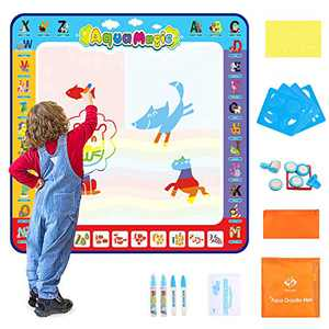 Fansteck Aqua Magic Doodle Mat for Kids 40x40inch, Colorful Water Drawing Mat with 24 Accessories, Early Learning Educational Toy for Toddlers Boys Girls 3 4 5 6 7 8, No Mess Design