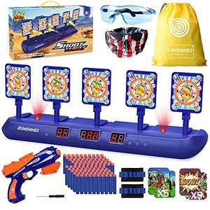 SWEMNED Digital Shooting Targets for Nerf Guns Practice Toy, Upgrade 5 Targets Auto Reset 3 Game Mode Electronic Scoring, Ideal Fun Gifts Toys for Age 5,6,7,8,9,10,11,12,13+ Year Old Kids/Boys/Girls