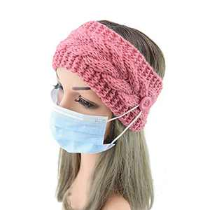 Headband mask Fashion bow wool knit warm women headbands with buttons for Face Mask girl turban outdoor sports headwear hair ribbons hair accessories,Non-Slip Elastic Headbands,2pcs (Pink&Blue)