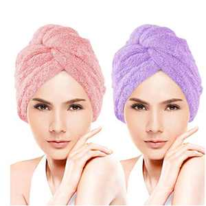 YOHOTA Microfiber Hair Towel with Button for Women, Super Absorbent Quick Dry Hair Turban For Drying ,2 Pack Hair Care Cap (Pink& Purple)