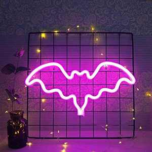 Pink Bat Bolt Neon Signs, Decorative Neon Light USB or Battery LED Signs, Living Room Bedroom Wall Decor Birthday Christmas Kids Gifts