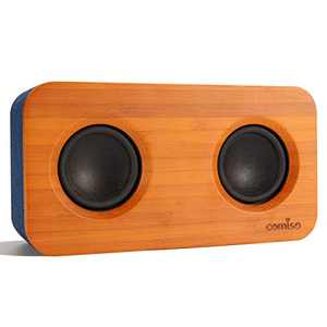 COMISO Bluetooth Speaker with Super Bass Stereo, 20W Loud Bamboo Wood Home Audio Powerful Small Bookshelf Wireless Speakers with Subwoofer, Bluetooth 5.0 for Home, Outdoor, Travel